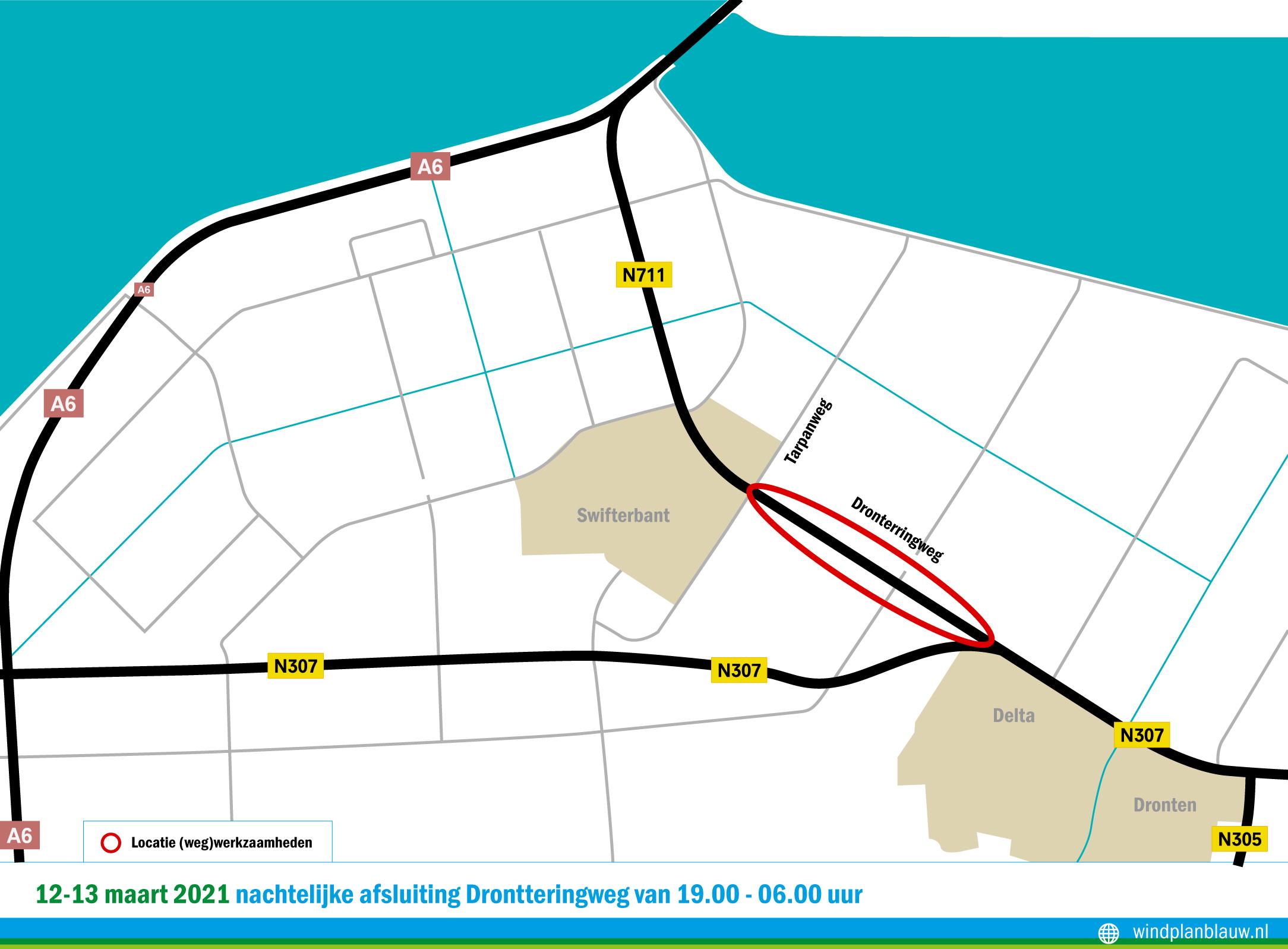 12-13 maart nachtelijke afsluiting deel Drontterringweg
