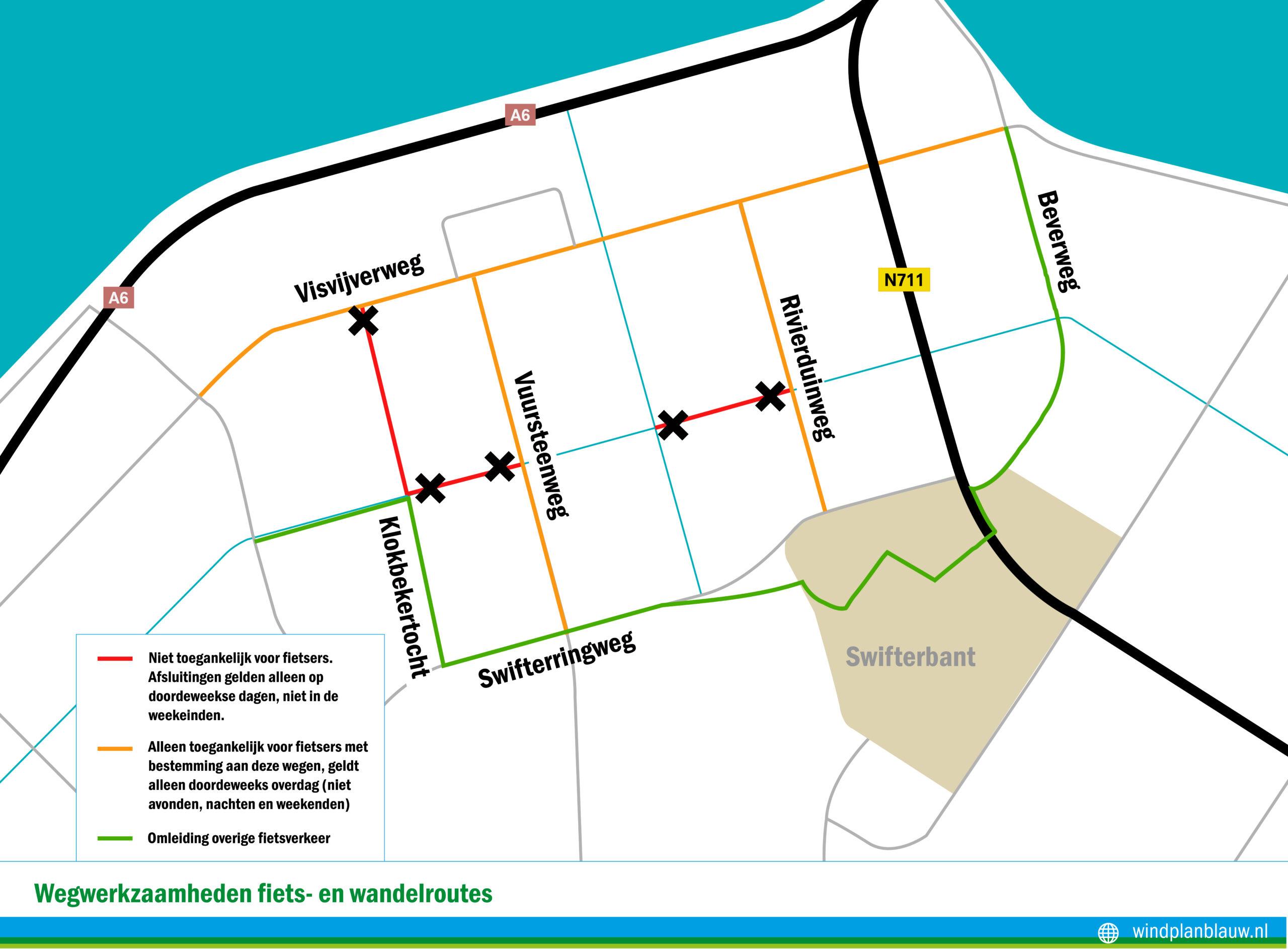 Vanaf 10 mei gelden er afsluitingen en omleidingen voor fiets- en wandelroutes